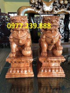 bán cặp kỳ lân phong thủy gỗ hương 40cm