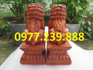 bán cặp kỳ lân tài lộc bằng gỗ hương
