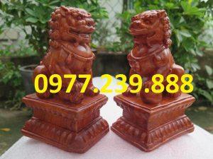 bán cặp kỳ lân tài lộc bằng gỗ hương 40cm