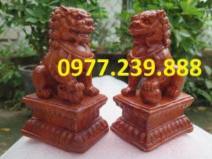 bán cặp tượng kỳ lân gỗ phong thủy tài lộc hương