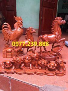 bán gà phong thủy bằng gỗ hương