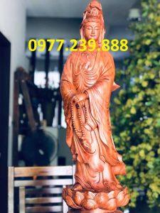 bán phật quan âm đứng bằng gỗ hương