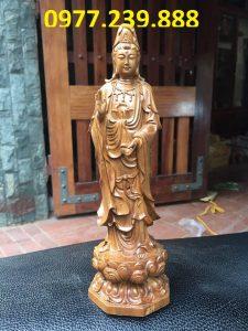 bán quan âm bằng gỗ bách xanh 80cm