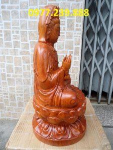 bán tượng bà quan âm đài sen gỗ hương 80cm