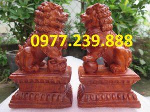 bán tượng cặp kỳ lân gỗ hương 20cm (2)