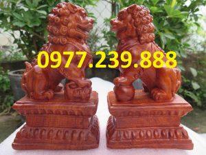 bán tượng cặp kỳ lân gỗ hương 40cm