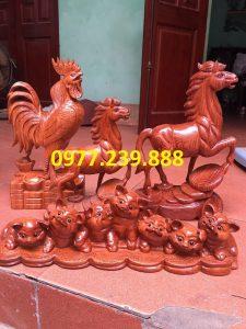 bán tượng gà phong thủy gỗ hương