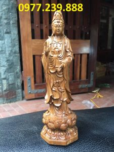 bán tượng quan âm bằng gỗ bách xanh