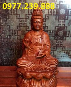 bán tượng quan âm ngồi đài sen bằng gỗ hương