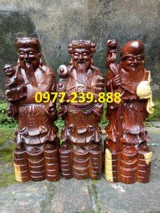 bộ tượng phúc lộc thọ gỗ trắc 30cm