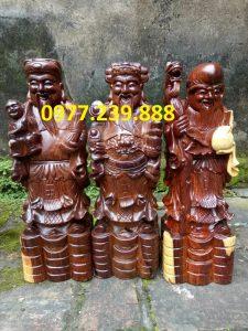 bộ tượng phúc lộc thọ gỗ trắc 40cm