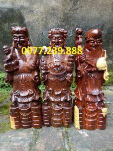 bộ tượng phúc lộc thọ gỗ trắc 50cm