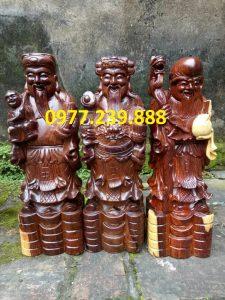 bộ tượng phúc lộc thọ gỗ trắc 60cm
