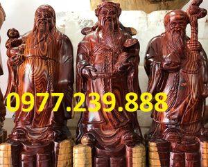 bộ tam đa phúc lộc thọ bằng gỗ trắc dây 40cm