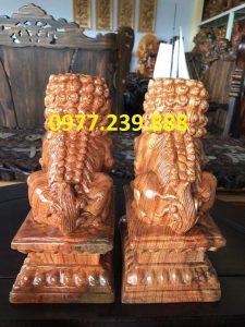 cặp kỳ lân phong thủy bằng gỗ hương đá