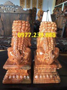 cặp kỳ lân phong thủy bằng gỗ hương nam phi