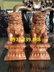 cặp kỳ lân phong thủy gỗ hương 40cm