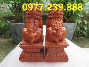 cặp tượng kỳ lân gỗ phong thủy tài lộc hương