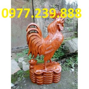 gà phong thủy gỗ hương