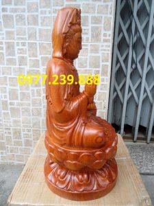 phật bà ngồi đài sen gỗ hương 70cm