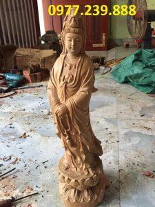 phật bà quan âm bằng gỗ bách xanh 50cm