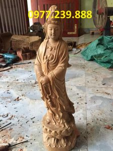 phật bà quan âm bằng gỗ bách xanh 80cm