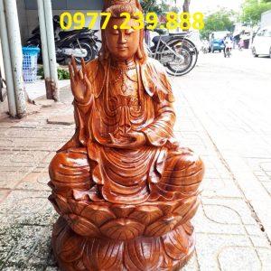 phật bà quan âm ngồi đài sen gỗ hương 15cm giá rẻ