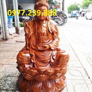phật bà quan âm ngồi đài sen gỗ hương 50cm