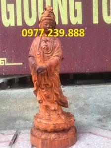 phật tượng quan âm đứng bằng gỗ hương đá