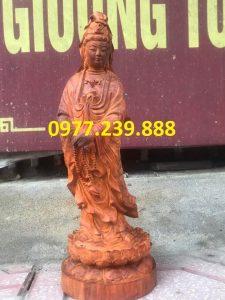 phật tượng quan âm đứng bằng gỗ hương việt