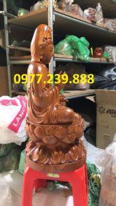 quan âm ngồi đài sen gỗ hương cao 20cm