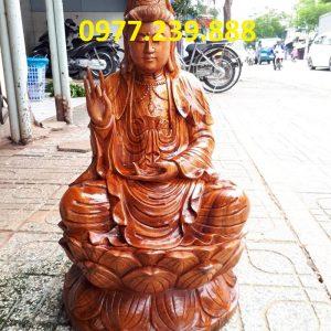 quan âm ngồi đài sen gỗ hương cao 60cm