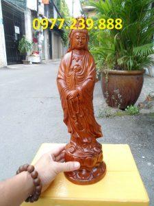 tượng đứng đài sen bằng gỗ hương