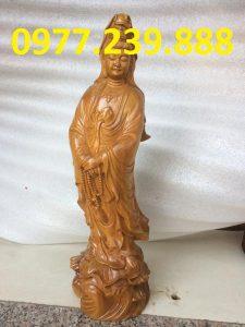 tượng bà phật đứng đài sen gỗ bách xanh 30cm