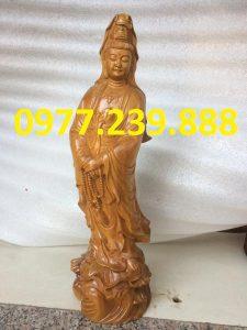 tượng bà phật đứng đài sen gỗ bách xanh 40cm