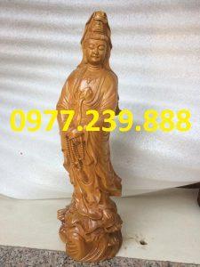 tượng bà phật đứng đài sen gỗ bách xanh 50cm