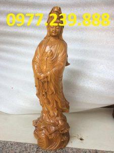 tượng bà phật đứng đài sen gỗ bách xanh 70cm