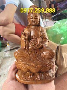 tượng bồ tát bằng gỗ bách xanh 15cm