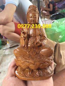 tượng bồ tát bằng gỗ bách xanh 20cm
