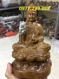 tượng bồ tát bằng gỗ bách xanh 80cm