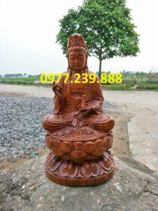 tượng bồ tát gỗ bách xanh 60cm