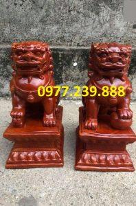 tượng cặp kỳ lân bằng gỗ