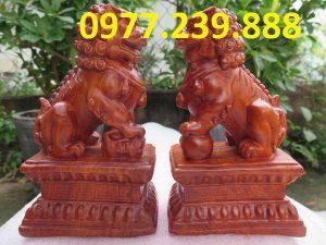 tượng cặp kỳ lân bằng gỗ hương 20cm