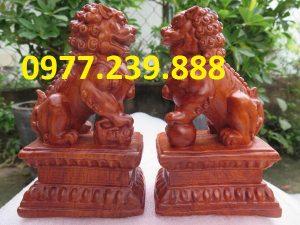 tượng cặp kỳ lân bằng gỗ hương 40cm