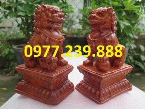 tượng cặp kỳ lân gỗ hương 40cm