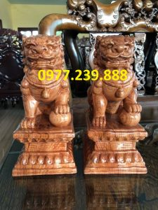 tượng cặp kỳ lân phong thủy gỗ hương đá