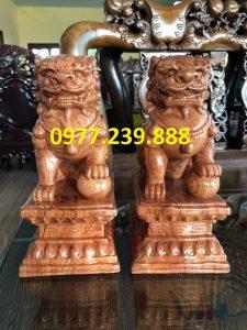 tượng cặp kỳ lân phong thủy gỗ hương 240cm