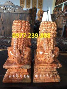 tượng cặp kỳ lân phong thủy gỗ hương 30cm