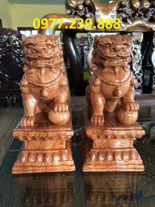 tượng cặp kỳ lân phong thủy gỗ hương 40cm