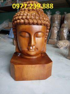tượng diện phật gỗ bách xanh 30cm